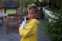 Zach and a puppy